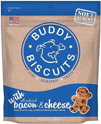 Buddy Biscuits with Bacon & Cheese Soft & Chewy Dog Treats, 6-oz bag