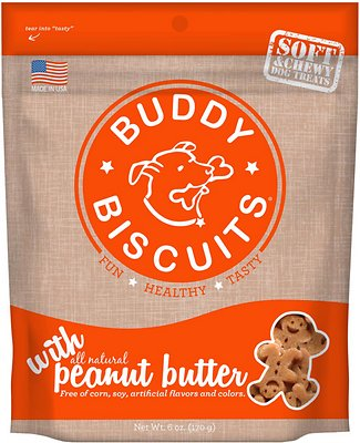 Buddy Biscuits with Peanut Butter Soft & Chewy Dog Treats, 6-oz bag