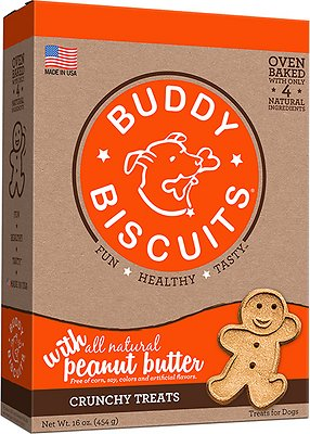 Buddy Biscuits with Peanut Butter Oven Baked Dog Treats, 16-oz box