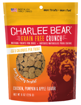 Charlee Bear Crunch Chicken, Pumpkin & Apple Grain-Free Dog Treats, 8-oz bag