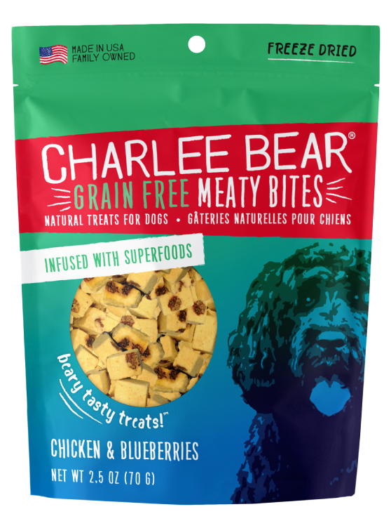 Charlee Bear Grain-Free Meaty Bites Dog Treats, Chicken & Blueberries, 2.5-oz bag