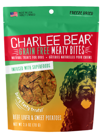 Charlee Bear Grain-Free Meaty Bites Dog Treats, Beef Liver & Sweet Potatoes, 2.5-oz bag