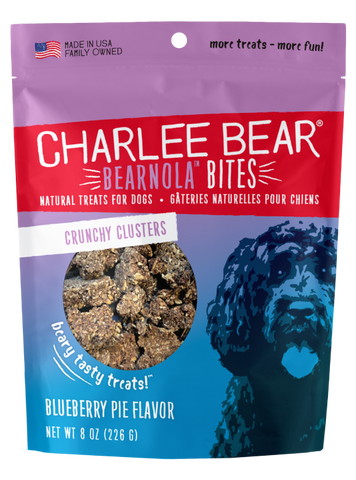 Charlee Bear Bearnola Bites Granola Clusters Dog Treats, Blueberry Pie Flavor, 8-oz bag
