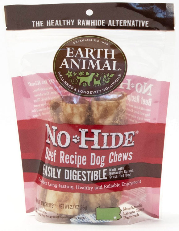 Earth Animal No-Hide Beef Chew Dog Treat, 4-in, 2-pack