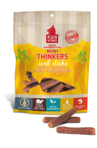 Plato Mini Thinkers Carrot, Turkey & Peanut Butter Recipe Grain-Free Dog Treats, 6-oz