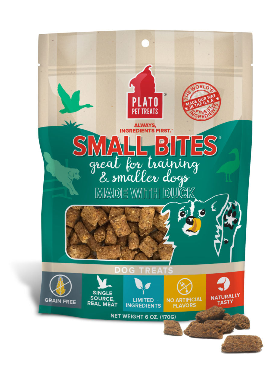 Plato Small Bites Duck Dog Treats, 6-oz