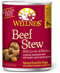 Wellness Beef Stew with Carrots & Potatoes Grain-Free Canned Dog Food, 12.5-oz can