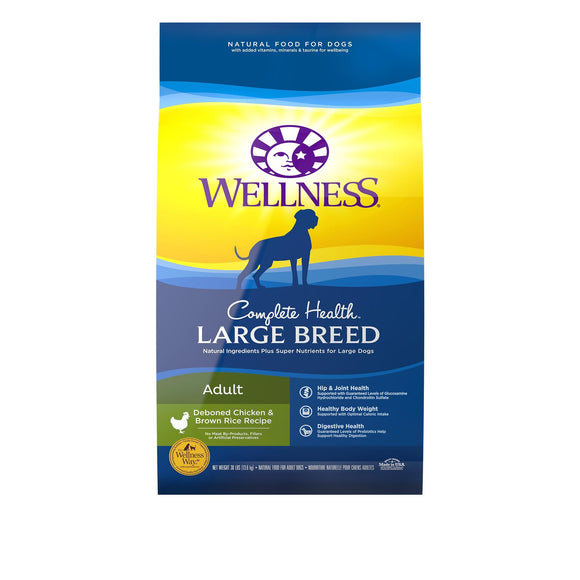 Wellness Large Breed Complete Health Adult Deboned Chicken & Brown Rice Recipe Dry Dog Food, 15 or 30-lb bag