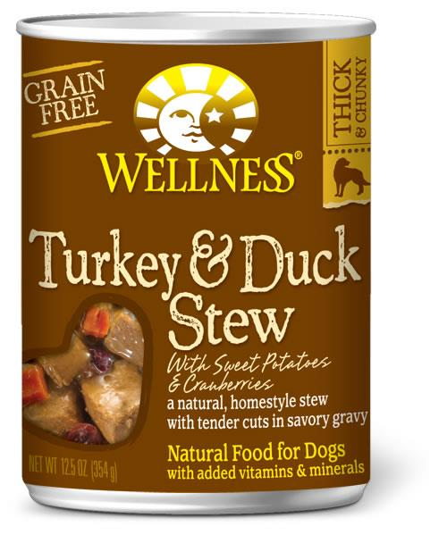 Wellness Turkey & Duck Stew with Sweet Potatoes & Cranberries Canned Dog Food, 12.5-oz can