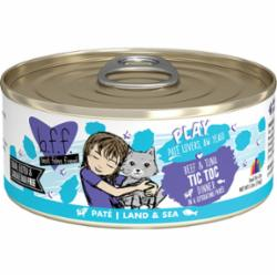 BFF PLAY Pate Tic Toc Beef & Tuna Dinner in Puree Grain-Free Wet Cat Food, 5.5-oz can