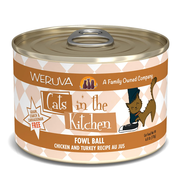 Weruva Cats in the Kitchen Fowl Ball Chicken & Turkey Au Jus Grain-Free Wet Cat Food, 6-oz, can