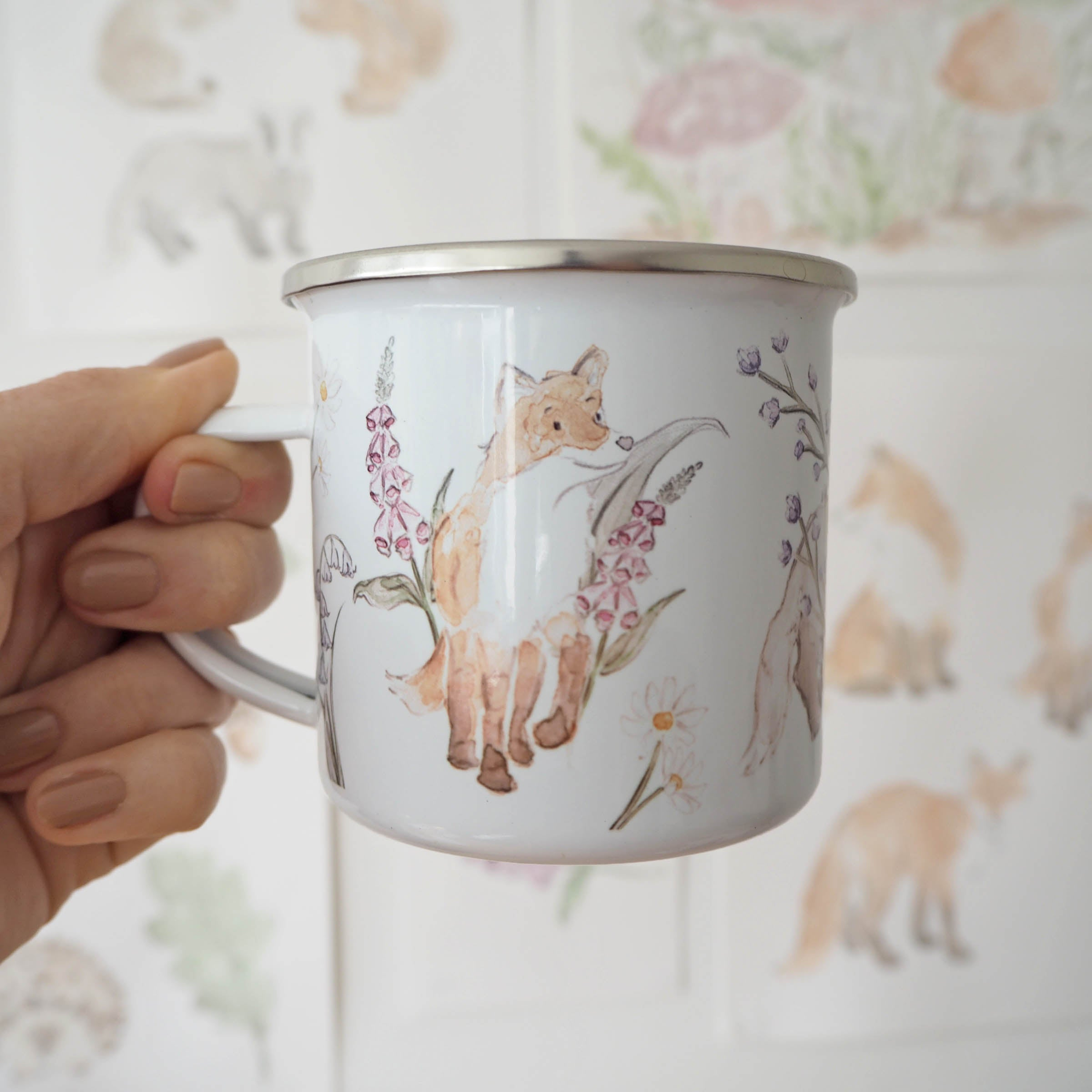 woodland animal enamel mug