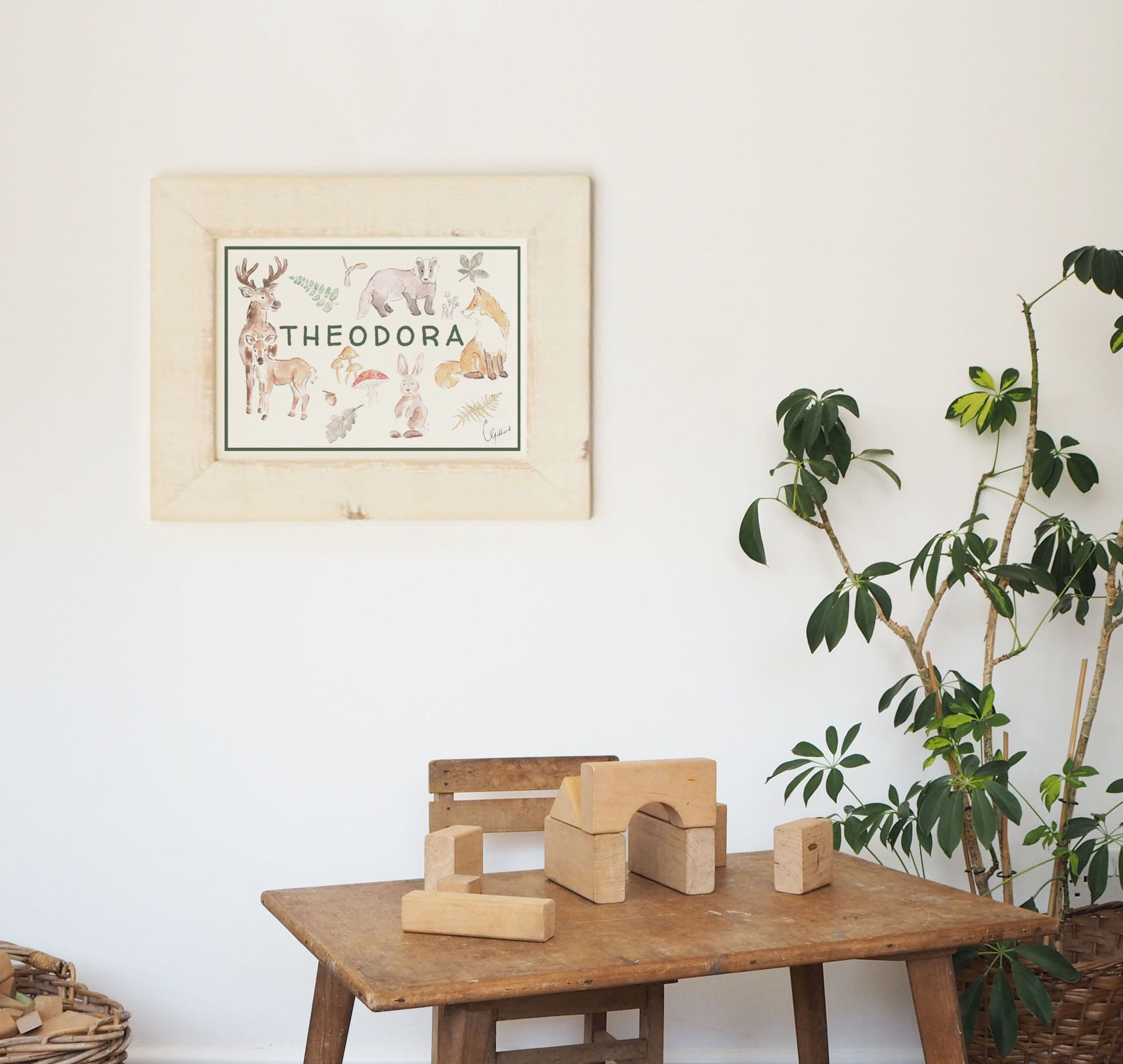 Personalised name nursery print, inspired woodland animals