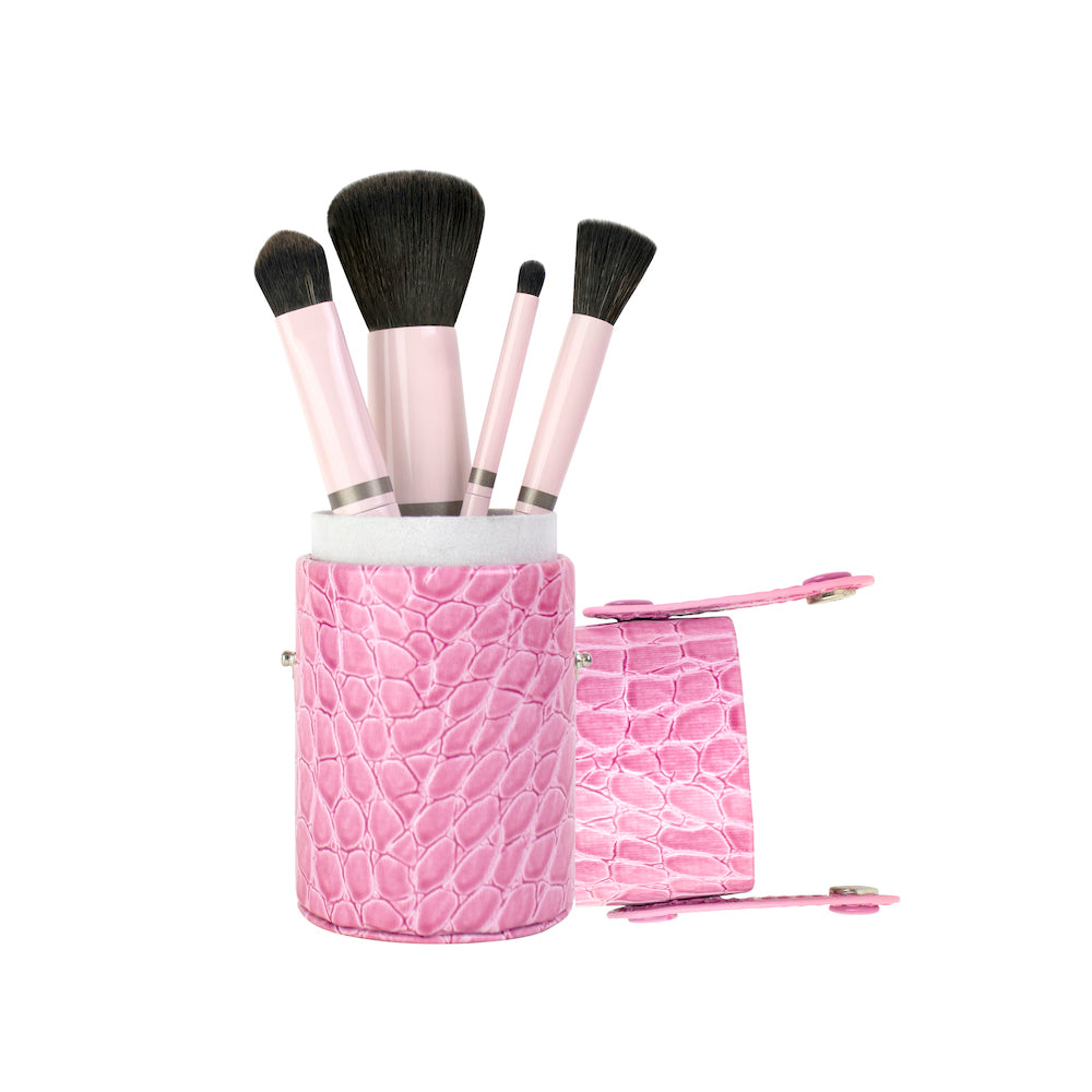 Luxury Vegan 4-Brush Travel Set in Pink