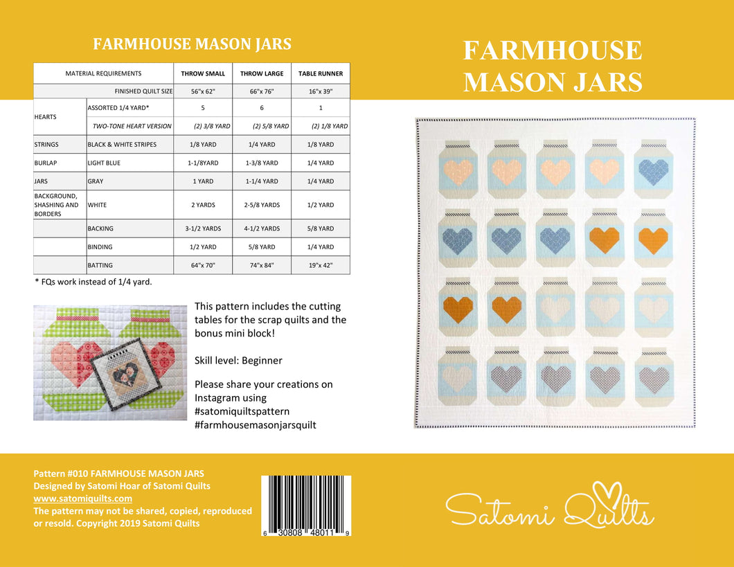 FARMHOUSE MASON JARS _ paper quilt pattern