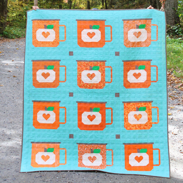 PUMPKIN CAMPFIRE MUGS _ digital quilt pattern