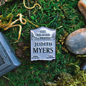 Enamel Pin - RIP Judith Enamel Pin - Halloween Movie Pin From The Cinema Cemetery Collection
