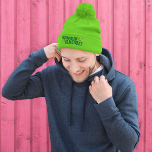 Nightmare on Film Street Embroidered Pom-Pom Beanie - Neon Green
