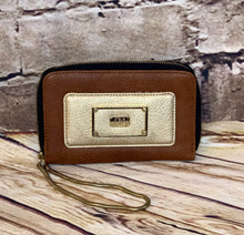 Load image into Gallery viewer, Steve Madden leather brown and gold clutch with gold chain and snakesking/gold interior lining.  Credit card and ID slots.