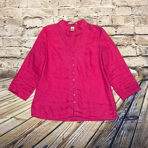 E-Col-O-Gie hot pink linen button up blouse with mandarin collar and 3/4 sleeves.