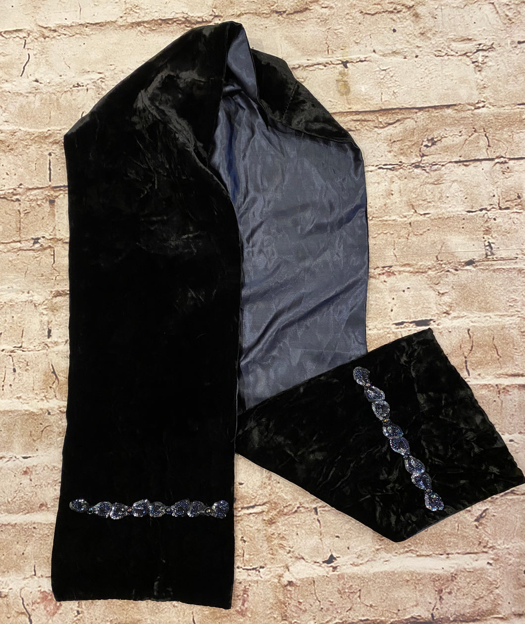 Hand made black velvet scarf with sequins and navy blue satin liner.