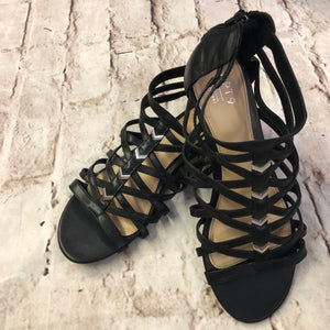 Black Apt 9 Gladiator sandals with silver arrow studs size 9.5, like new