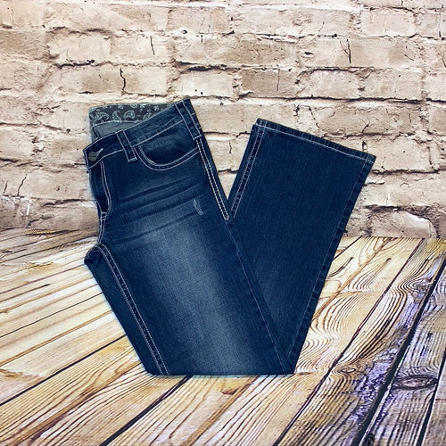 Wrangler dark wash bootcut jeans with rhinestone and white embroidery chevron design on back pockets.
