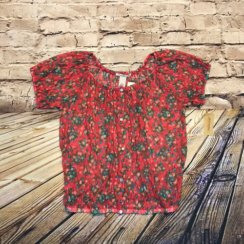 American Rag coral lace button up top with floral pattern and elastic neck, arm, and waist bands.