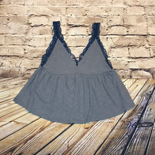 Load image into Gallery viewer, Umgee grey ribbed tank with navy lace straps.