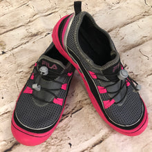 Load image into Gallery viewer, Fila Mesh Sneakers, grey with hot pink soles.  Cinch laces.  Size 9, like new