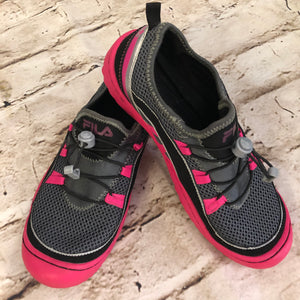 Fila Mesh Sneakers, grey with hot pink soles.  Cinch laces.  Size 9, like new