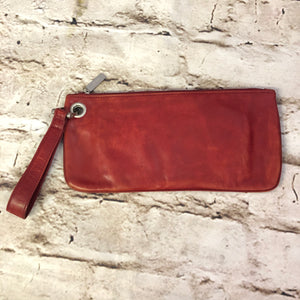 Hobo International Vida Clutch.  Red leather with sky blue interior.