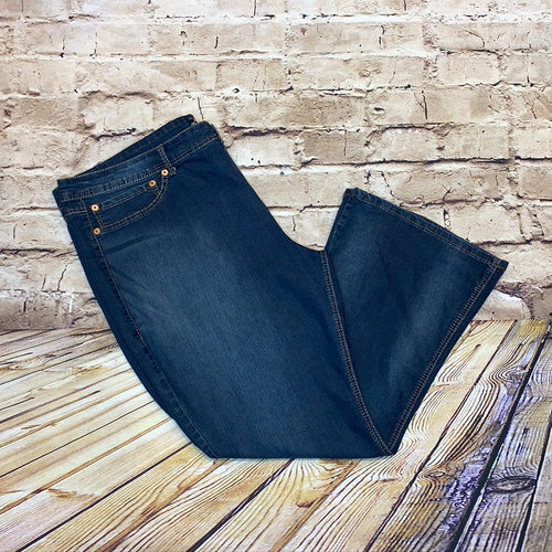 Source of Wisdom wide leg jeans in medium wash with S embroidered back pocket detail.