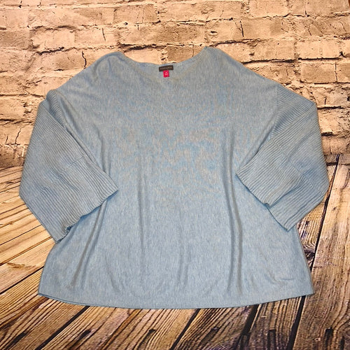 Vince Camuto bell sleeved sweater in pewter heather blue.  Ribbed sleeve detail.