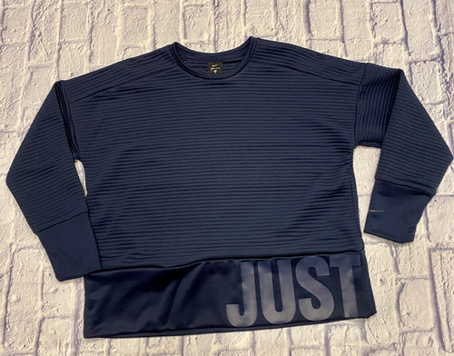 Nike dry fit sweatshirt in blue with slightly raised material and wide waistband with