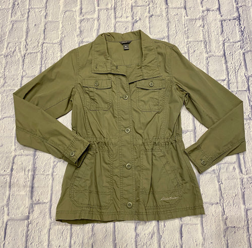 Eddie Bauer lightweight jacket in olive green.  Two front top pockets and two side pockets.  Drawstring waist, button down.  Like new!