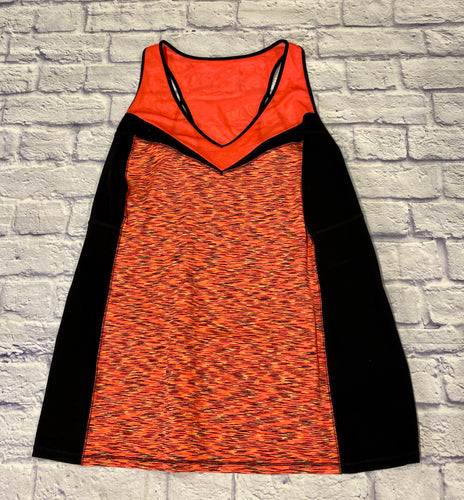 Livi neon orange and black active tank with mesh top and black piping.  Racerback.