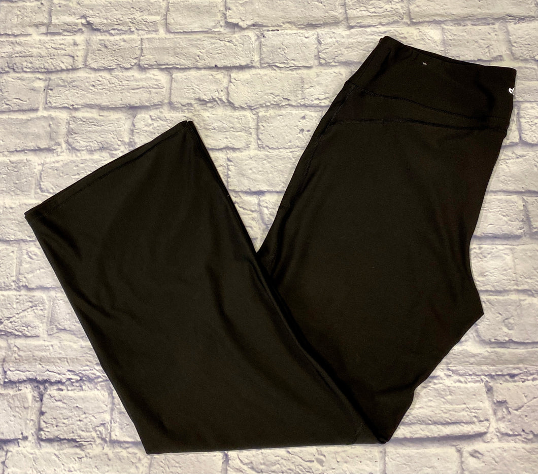 Maurices black active pants with wide yoga leg.  Stretchy with a few hemlines across legs for detail.