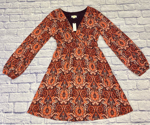 Maeve by Anthropologie paisley dress in red, orange, yellow, and eggplant purple.  Eggplant purple lining, solid heft.  Slight bell sleeve with elastic hem.  Faux wrap neckline.  Belted.  Beautiful, new with tags!