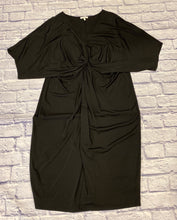 Load image into Gallery viewer, Maurices black stretch dress with v neck into knotted front.  Very flattering.  Straight through hip.  Like new.
