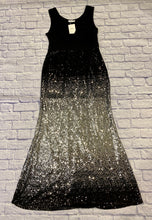 Load image into Gallery viewer, Nextima black jersey faux wrap sleeveless maxi dress with thick waistband.  Flows into silver sequin ombre maxi skirt.  So beautiful for that perfect occasion!  New with tags!
