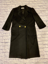 Load image into Gallery viewer, Leslie Fay vintage black wool trench coat with square padded shoulders and gold button accents.  Two front square pockets.  Oversized look.  Very on trend.