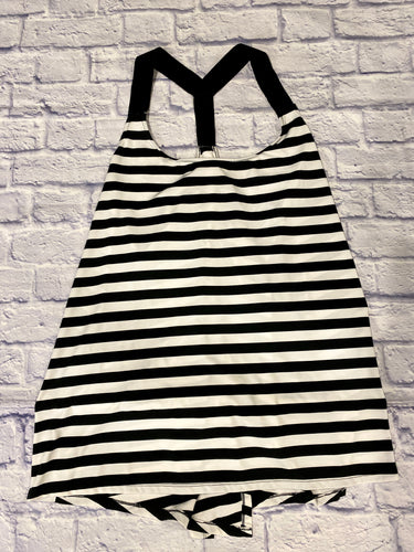 Livi black and white striped active tank.  Elastic racerback straps with overlapping, open back.