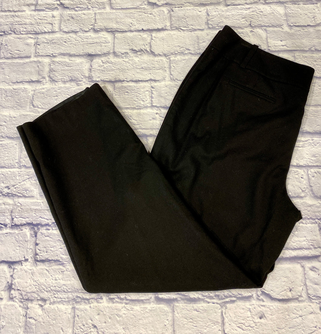 Talbots black wool pants with double button and zip closure.  Straight leg with two side pockets.  Slit back pockets.  Very nicely tailored.  Like new.