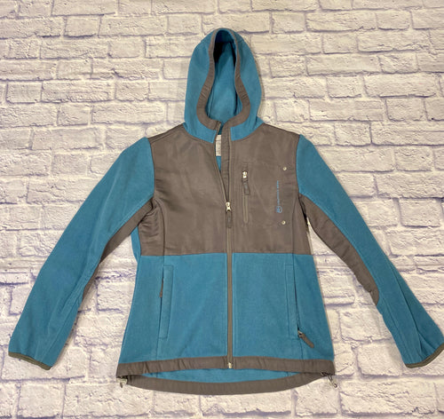 Free Country active fleece jacket in teal and grey.  Zip up front, two side zip pockets as well as top zip pocket.  Hooded.