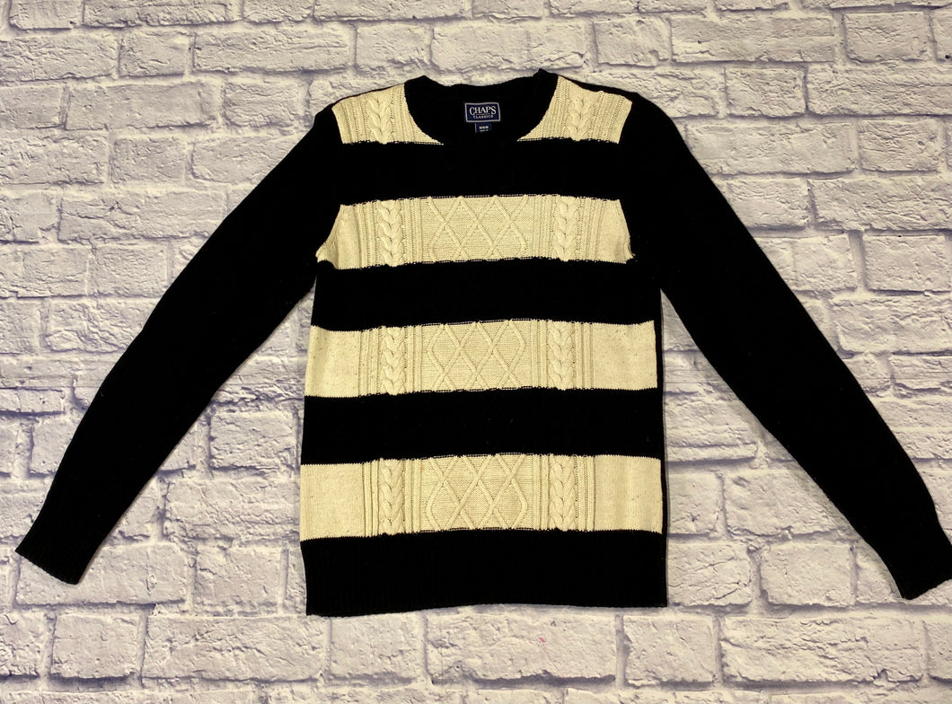 Chaps black and white thick striped knit sweater with crew neck.  Solid black back.  Straight fit, slight stretch.