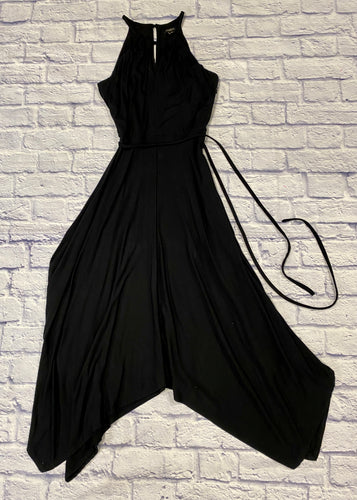 Ann Taylor black soft knit sleeveless chemise dress with tie waistband.  Shark bite hem with double slit in front and back with button closure.  Racerback neckline.  So elegant!