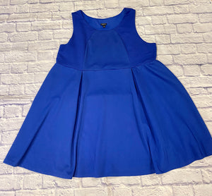 Torrid royal blue sleeveless a-line dress with pleating down skirt.  Slight stretch, very pretty.