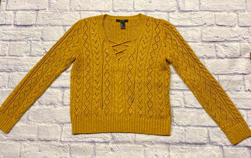 Forever 21 mustard yellow crochet sweater with lace up front.  Banded ribbed cuffs and waistband.  Like new.