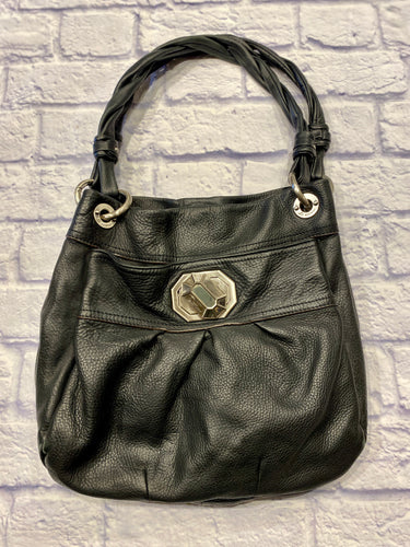 B. Makowsky soft black leather tote with braided shoulder traps.  Silver grommets and o-ring hardware.  Front pocket has silver twist beveled knob with logo.  Interior is satin leopard print.  Two large inside pouches with multiple side pockets.  Small pocket in back as well.  This purse is so amazing!